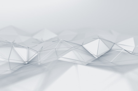 Abstract 3d rendering of white surface. Background with futuristic low poly shape.