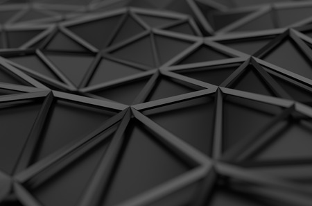 Foto de Abstract 3d rendering of black surface. Background with futuristic low poly shape. - Imagen libre de derechos