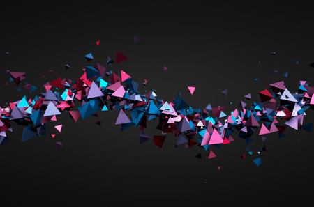 Abstract 3d rendering of chaotic particles. Futuristic pyramids in empty space. Sci-fi background.