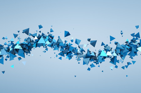 Photo pour Abstract 3d rendering of chaotic particles. Background of pyramids in empty space. - image libre de droit