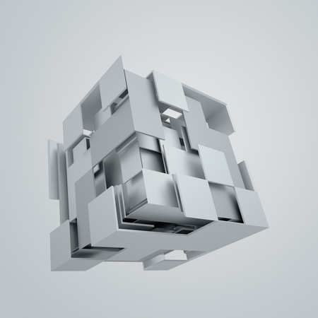 Foto de Abstract 3d rendering of flying cube. Sci fi shape in empty space. Futuristic background. - Imagen libre de derechos