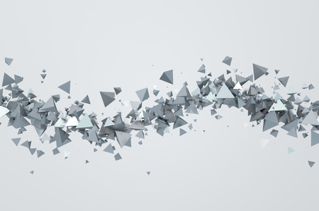 Abstract 3d rendering of chaotic triangles. Background with pyramids in empty space.