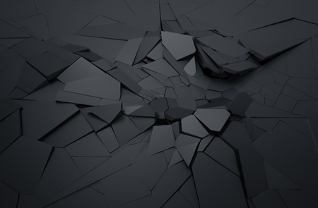 Foto de Abstract 3d rendering of cracked surface. Background with broken shape. Wall destruction. Explosion with debris. - Imagen libre de derechos