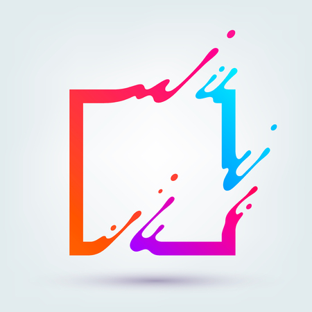 illustration with abstract colorful square. Abstract splash, liquid shape. Background for poster, cover,placard.