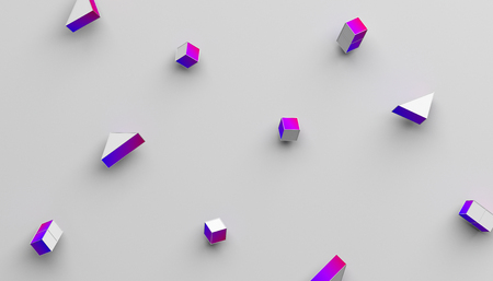 Photo pour Abstract 3d rendering of geometric shapes. Modern background with simple forms. Minimalistic design with cubes and triangles, for poster, cover, branding, banner, placard. - image libre de droit