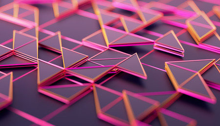 Foto de Abstract 3d rendering of geometric surface. Composition with triangles. Futuristic modern background design for poster, cover, branding, banner, placard. - Imagen libre de derechos