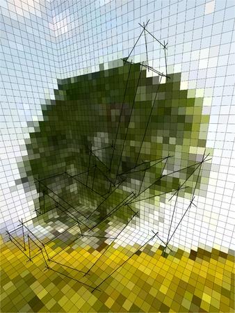 optical illusion matrix or landscape photography, or business diagram