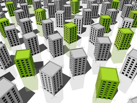 green ecological apartment houses/office buildings standing out from others