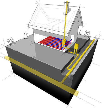 diagram of a detached house with underfloor heating   natural gas boiler