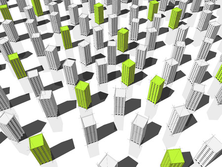 green ecological apartment houses or office buildings standing out from others