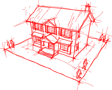 architectural sketch or hand drawing of classic colonial house