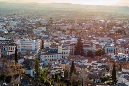 Photo pour Urban landscape, Granada city view at sunset, Andalusia, southern Spain - image libre de droit