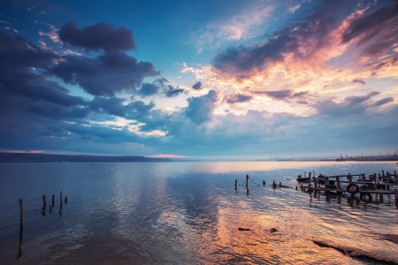 Photo for Sunset Over the lake  HDR Image - Royalty Free Image