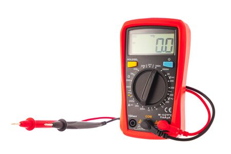 Photo pour Multimeter to check electricity voltage isolated on white background. - image libre de droit