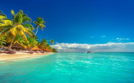 Photo pour Landscape of paradise tropical island beach with perfect sunny sky - image libre de droit