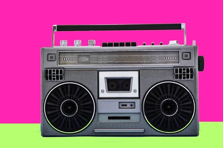 Photo for 1980s Silver retro radio boom box on color background. - Royalty Free Image