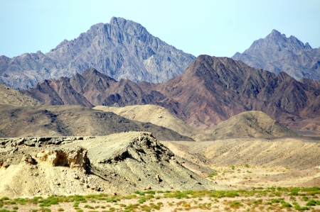 Sinai Peninsula and its colorful mountains - view from the ship in the reserve of Ras Mohamed