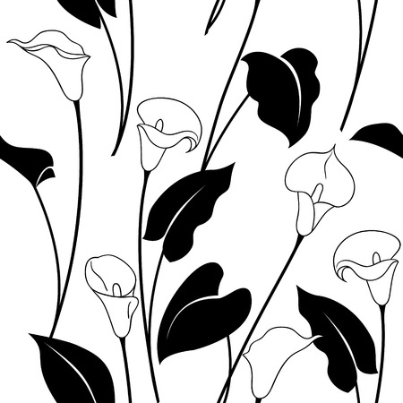 Seamless Pattern With Black And White Calla Lily Flowers And Leaves
