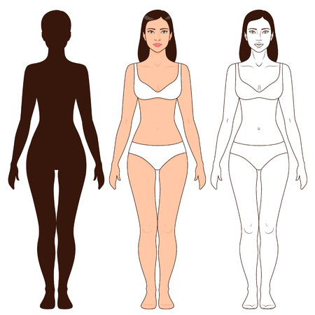 Ilustración de Woman body shape, outline and silhouette template. Full length front view of a standing girl isolated on white. - Imagen libre de derechos