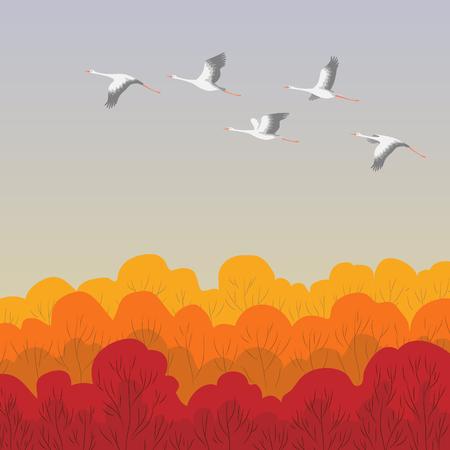 Ilustración de White storks flying over the forest. Stork Autumn migration. Bird flight flat illustration. - Imagen libre de derechos