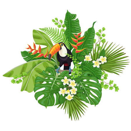 Ilustración de Colorful  floral bunch with green leaves and flowers of tropical plants  and  bird isolated on white.  Toucan sitting on liana branch. Vector flat illustration. - Imagen libre de derechos