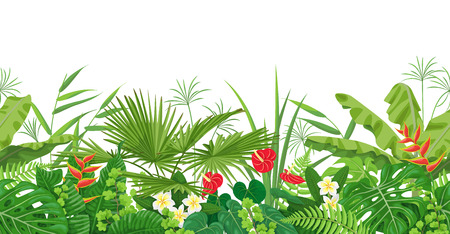 Illustration for Horizontal floral seamless border made with colorful leaves and flowers of tropical plants on white background. Tropic rainforest foliage pattern. Vector flat illustration. - Royalty Free Image