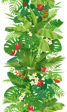 Illustration for Vertical floral seamless pattern made with colorful leaves and flowers of tropical plants on white background.  Tropic rainforest foliage border. Vector flat illustration. - Royalty Free Image