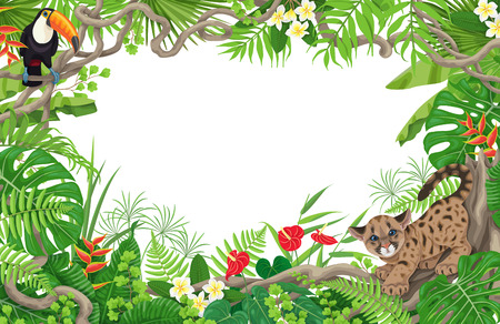 Illustration pour Horizontal tropical floral frame made with leaves, flowers, sitting toucan and little angry puma. Space for text. Children theme. Rain forest foliage border. Vector flat illustration. - image libre de droit