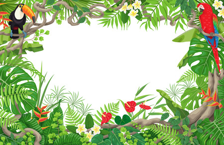 Illustration pour Colorful tropical leaves and flowers background. Horizontal floral frame with birds Macaw and Toucan sitting on liana branches. Space for text. Rainforest foliage border. Vector flat illustration. - image libre de droit