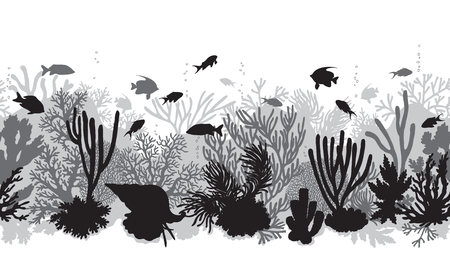 Illustration pour Hand drawn underwater natural elements. Coral reef horizontal seamless pattern.  Monochrome silhouettes of corals, clam and swimming tropical fishes. Black and white undersea bottom texture. - image libre de droit