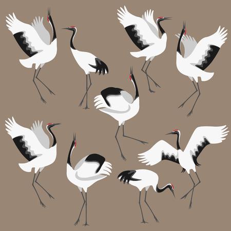 Ilustración de Simplified image of dancing japanese storks isolated on colored background. Red-crowned cranes moving in dance. Birds group flat illustration. - Imagen libre de derechos