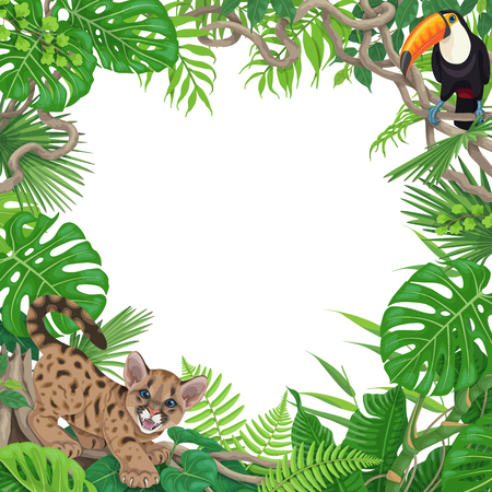 Illustration pour Tropical background with monstera, palm and fern leaves. Floral frame with funny angry puma cub and toucan sitting on liana branch. Space for text. Rainforest foliage border vector flat illustration. - image libre de droit