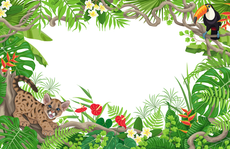 Ilustración de Summer background with tropical plants and animals. Horizontal floral frame with funny angry puma cub and toucan on liana branches. Space for text. Rainforest foliage border vector flat illustration. - Imagen libre de derechos