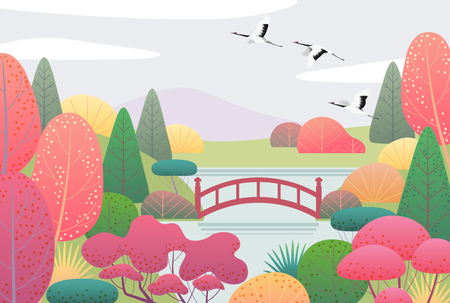 Ilustración de Nature background with japanese garden and flying cranes. Autumn scene with simple red, yellow, green plants, trees, mountain, bridge, clouds and birds.  Vector flat illustration. - Imagen libre de derechos