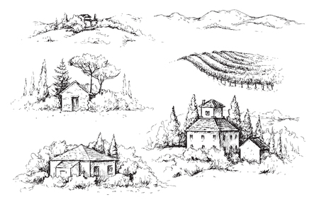 Illustration pour Hand drawn fragments of rural scene with houses, vineyards and trees. Monochrome rustic landscape illustration. Vector sketch. - image libre de droit