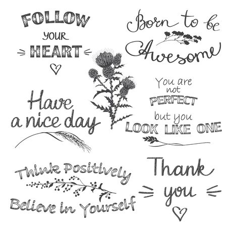 Illustration pour Monochrome typography set with slogans and phrases. Hand drawn inscriptions decorated floral elements. Black and white design for print, poster, t shirt, sticker. Vector illustration.  - image libre de droit