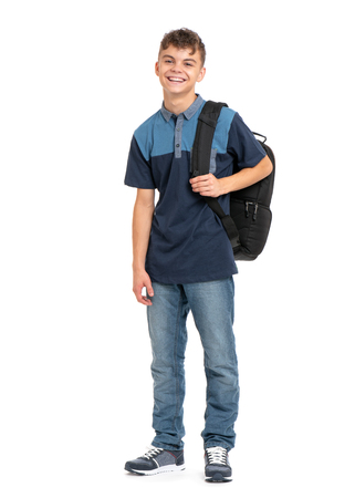 Photo pour Full length portrait of young student with school bag. Teenager smiling and looking at camera. Happy teen boy, isolated on white background. - image libre de droit