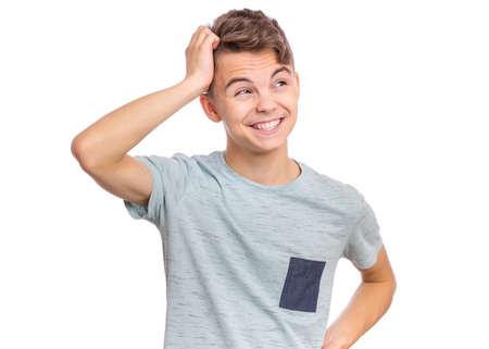 Photo pour Handsome teen boy laughing looking very happy. - image libre de droit