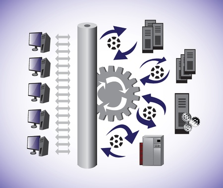 Vector Illustartion of a Computer Capacity planning Architecture and shows how the Information sharing Computer Network architecture