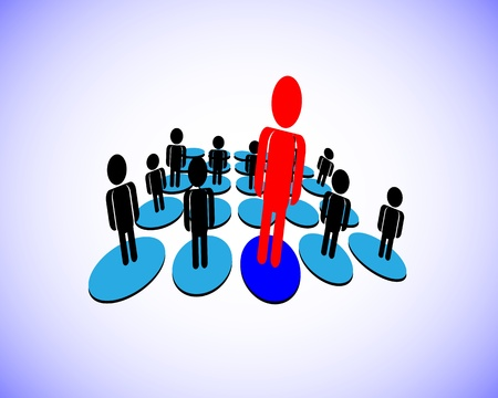 illustration of a Leader who has group of followers in a business, organization, this also represents a manager and team members, employee and employer, unique person from a group