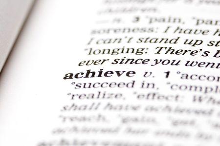 The word achieve written in thesaurus