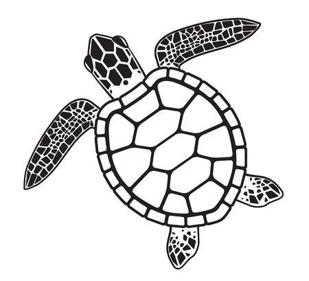 Illustration pour Turtle in cartoon, black and white illustration. - image libre de droit