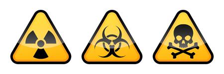 Illustration pour Warning vector signs. Radiation sign, Biohazard sign, Toxic sign. - image libre de droit