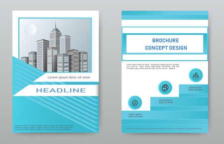 Illustration pour Design cover brochure, layout, flyer, template with the image of the city. - image libre de droit