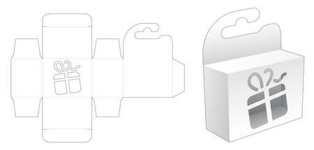 Illustration pour Hanging mini box with gift box stencil die cut template - image libre de droit