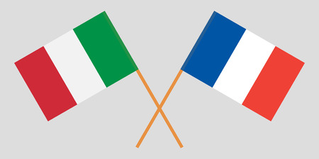 The crossed France and Italy flags. Official colors. Proportion correctly. Vector illustration