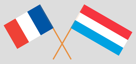Luxembourg and France. The Luxembourgish and French flags. Official proportion. Correct colors. Vector illustration