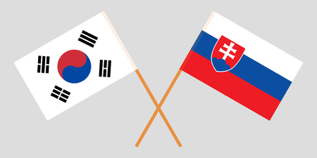 Slovakia and South Korea. The Slovakian and Korean flags. Official colors. Correct proportion. Vector illustration