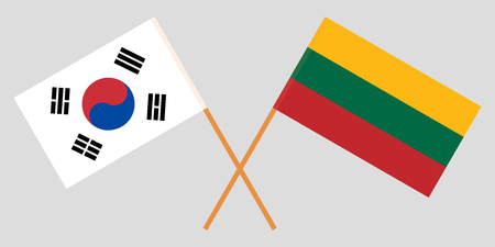 Lithuania and South Korea. The Lithuanian and Korean flags. Official colors. Correct proportion. Vector illustration