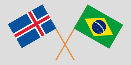 Iceland and Brazil. The Icelandic and Brazilian flags. Official colors. Correct proportion. Vector illustration